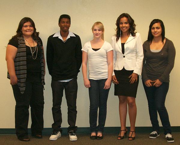Youth business plan competition award winners, left to right: Iliana Sanchez, Avery Causey, Ashley Lober, Dulce Avitia, Sophia Trujillo